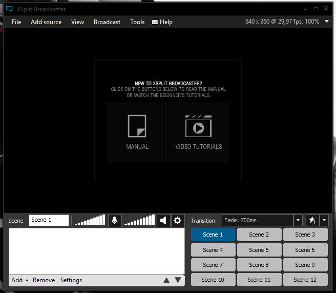 Interface XSplit Broadcaster