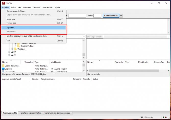 Importar e exportar FileZilla