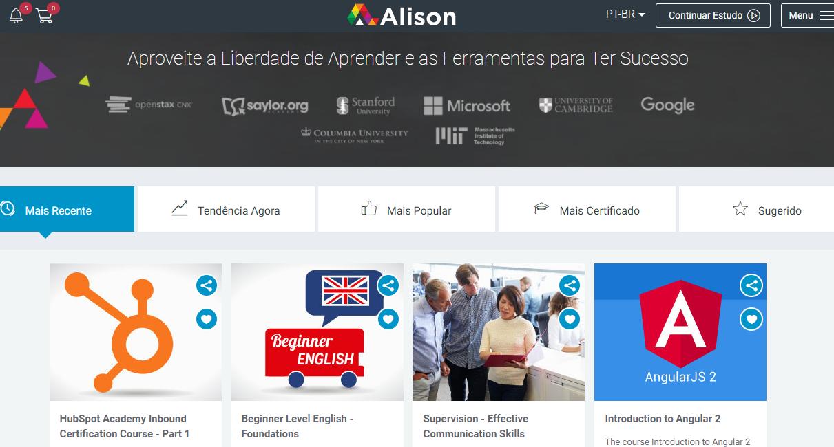 Acesse a plataforma de cursos gratuitos Alison