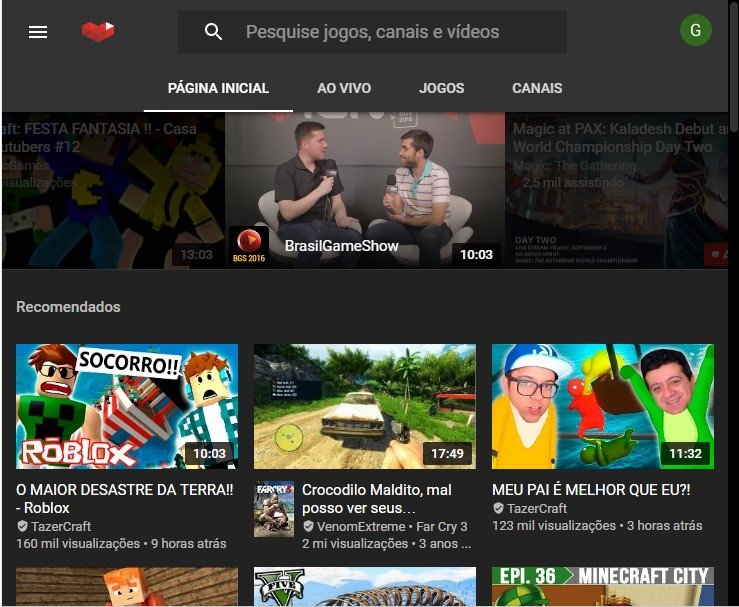 Interface Youtube Gaming!